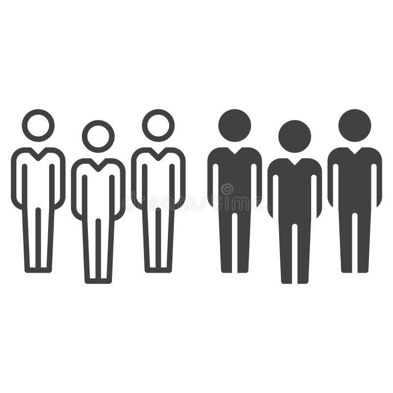 Ludzi, drużyny, kontur i piktogram odizolowywający na bielu ikona, kreskowa i stała, wypełniający wektoru znaka, liniowego i pełn ilustracja wektor