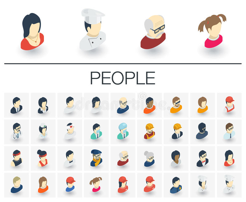 Ludzi i Avatars isometric ikony 3d wektor ilustracja wektor