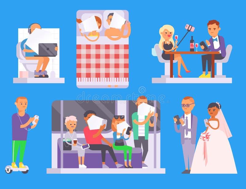 Ludzi i gadżetów pojęcie Ruchliwie biznesowego osoba mądrze telefonu ogólnospołeczny komunikacyjny styl życia Online ogólnospołec royalty ilustracja