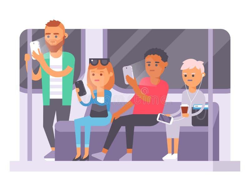 Ludzi i gadżetów pojęcie Ruchliwie osoba mądrze telefonu ogólnospołeczny komunikacyjny styl życia Online ogólnospołeczny sieci no royalty ilustracja