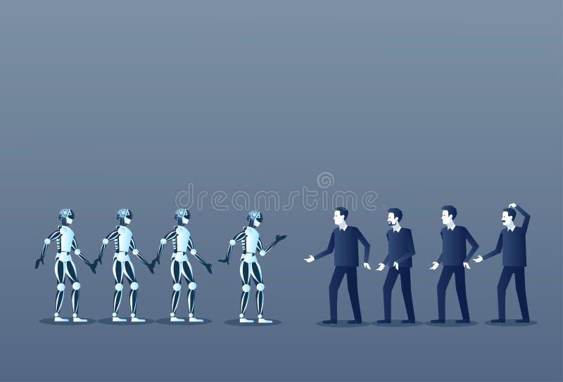 Ludzi I robotów istoty ludzkiej Nowożytna Futurystyczna technologia ilustracja wektor