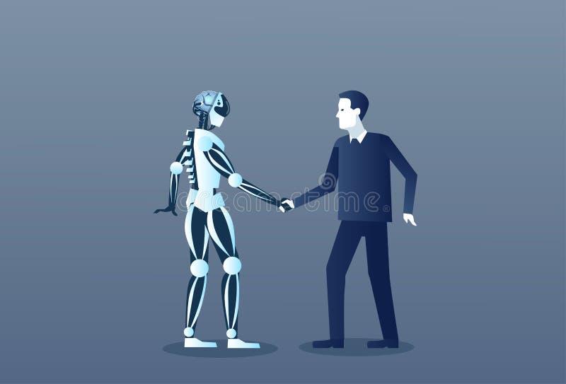 Ludzi I robotów uścisku dłoni istoty ludzkiej I Sztucznej inteligenci mechanizmu Nowożytna Futurystyczna technologia royalty ilustracja