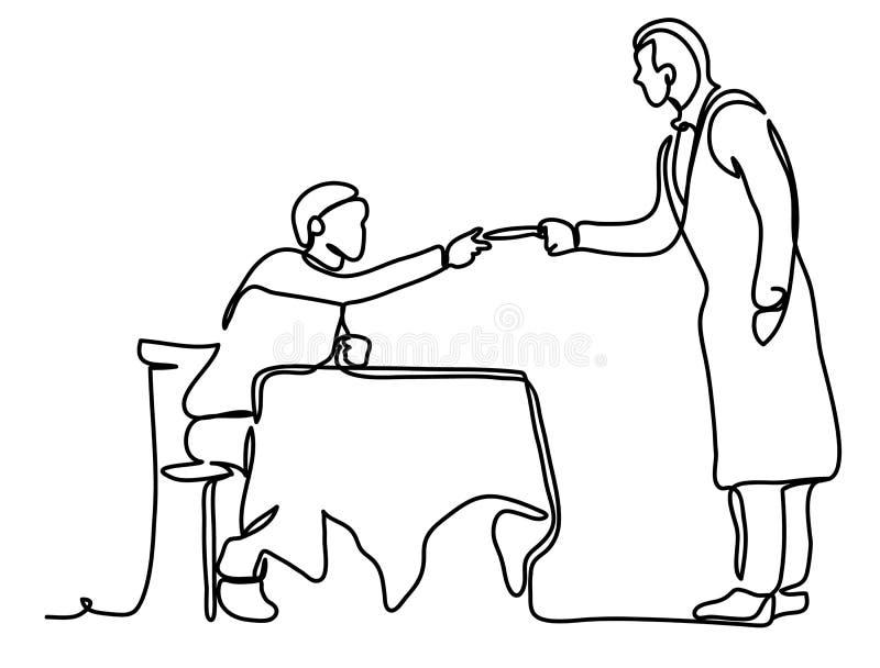 Ludzi, zapłaty i finanse pojęcie, - facet płaci z kelnerem Ciągły kreskowy rysunek Odizolowywający na bielu ilustracji