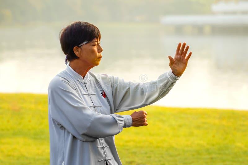 Ludzie ćwiczą Tai Chi Chuan w parku zdjęcia stock