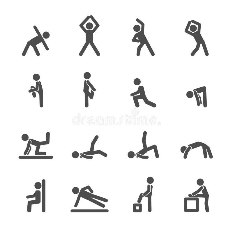 Ludzie ćwiczą w sprawności fizycznej ikony secie, wektor eps10 ilustracja wektor