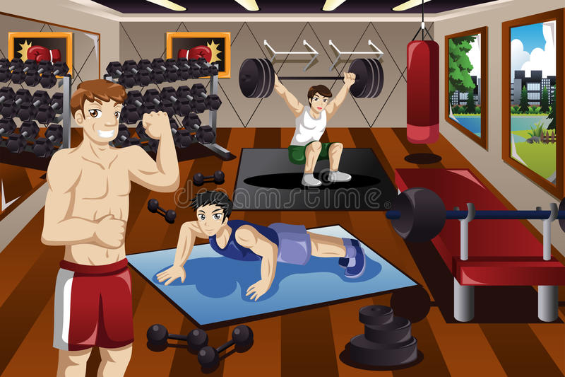 Ludzie ćwiczy w gym ilustracji
