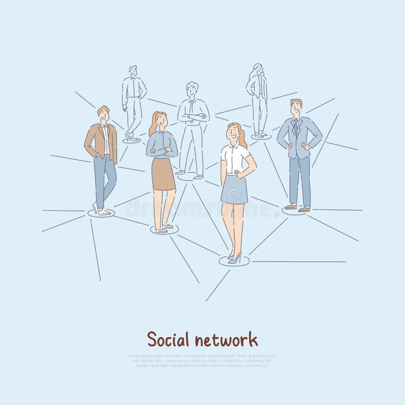 Ludzie łączyli internet globalną siecią, współczesnym światem cyfrowa komunikacja, międzynarodową społecznością i przyjaźnią, ilustracja wektor