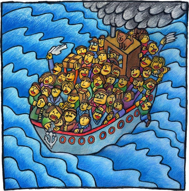 ludzie łodzi royalty ilustracja
