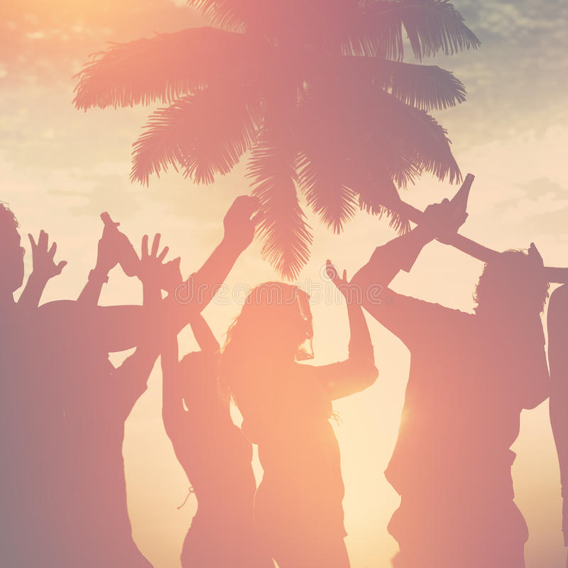 Ludzie świętowanie plaży przyjęcia wakacje letni wakacje pojęcia zdjęcie royalty free