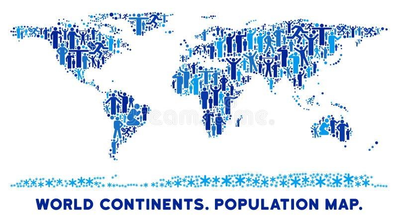 Ludzie Światowej kontynent mapy ilustracji