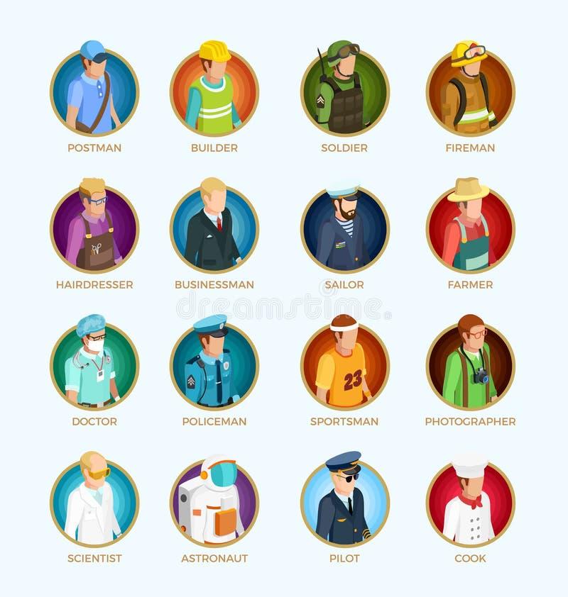 Ludzie Avatar Isometric setu royalty ilustracja