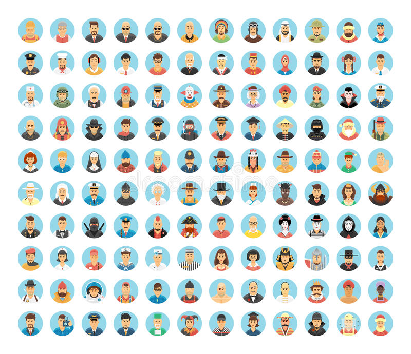 Ludzie avatar kolekci Płaskie okrąg ikony ludzie, zajęcia, pracują Ludzie portretów, kreskówek ludzie, ludzie stylów życia ilustracja wektor