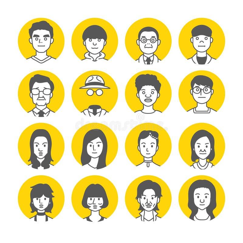 Ludzie Avatar twarzy ikon zdjęcie royalty free