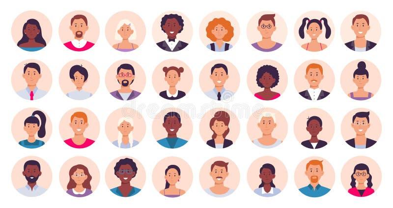 Ludzie avatar Uśmiechnięta ludzka okręgu portreta, kobiety i męskiej osoby round avatars ikony wektoru płaska ilustracja, royalty ilustracja