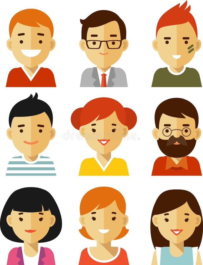 Ludzie avatars w mieszkanie stylu ilustracja wektor