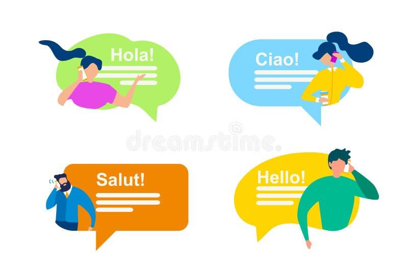 Ludzie bąbel mowy powitania Międzynarodowego zwrota ilustracji