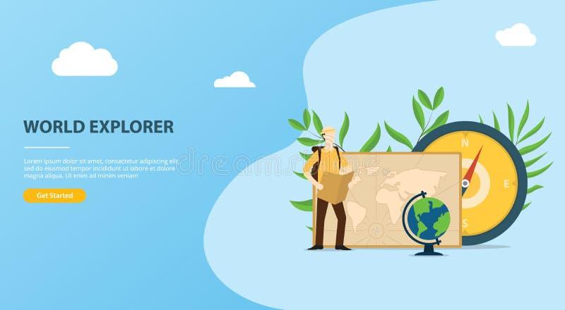 Ludzie badają i przygoda światowy strona internetowa szablon z mapami kompas i świat mapą ilustracji