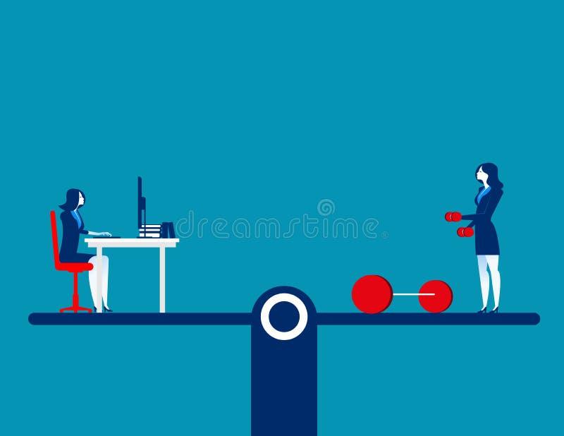 Ludzie balansuje na ćwiczeniu i działaniu Poj?cie biznesowa wektorowa ilustracja P?aski charakteru projekt ilustracji