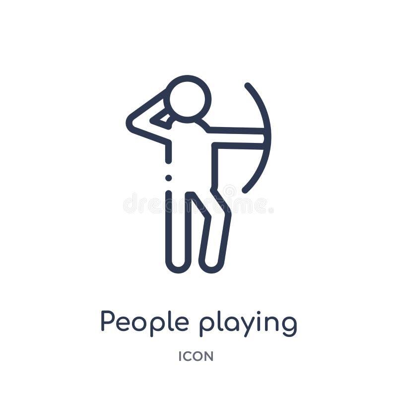 ludzie bawić się łuczniczą ikonę od rekreacyjnych gier zarysowywają kolekcję Ciency kreskowi ludzie bawić się łuczniczą ikonę odi ilustracja wektor