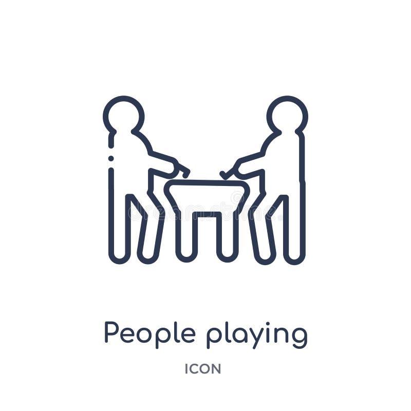 ludzie bawić się lotniczą hokejową ikonę od rekreacyjnych gier zarysowywają kolekcję Ciency kreskowi ludzie bawić się lotniczą ho ilustracja wektor