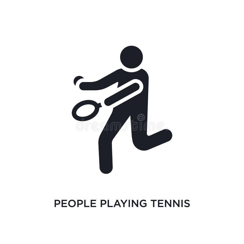 ludzie bawić się tenis odosobnioną ikonę prosta element ilustracja od rekreacyjnych gry pojęcia ikon ludzie grać w tenisa ilustracji