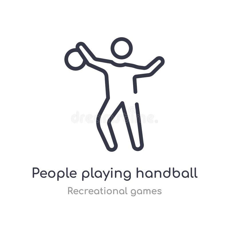 ludzie bawić się handball konturu ikonę odosobniona kreskowa wektorowa ilustracja od rekreacyjnych gier inkasowych editable cieni royalty ilustracja