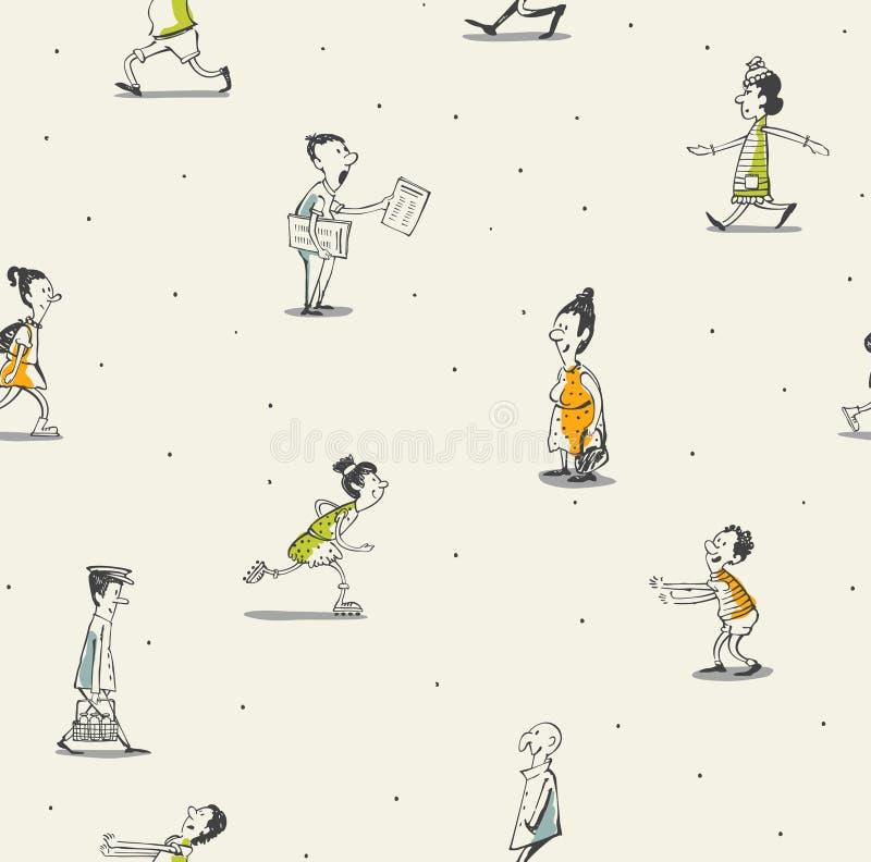 Ludzie bezszwowego wzoru rysunku ilustracji