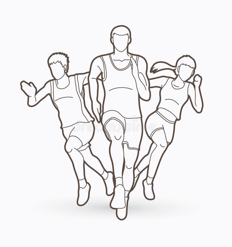 Ludzie bieg, biegacz, Maratoński bieg, Drużynowy praca bieg, grupa ludzi działający graficzny wektor ilustracji
