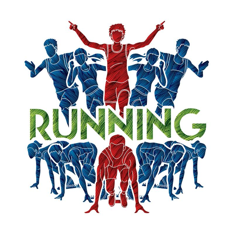 Ludzie bieg, biegacz, Maratoński bieg, Drużynowy praca bieg, grupa ludzi bieg z teksta bieg royalty ilustracja