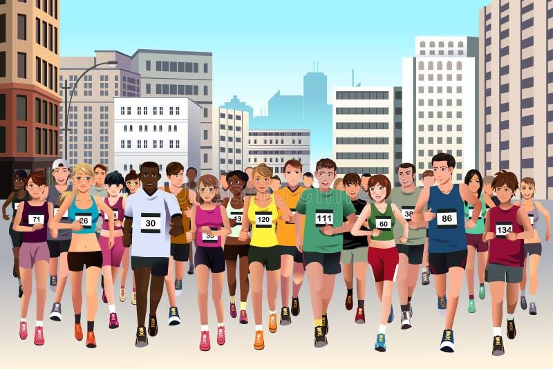 Ludzie biega maraton royalty ilustracja