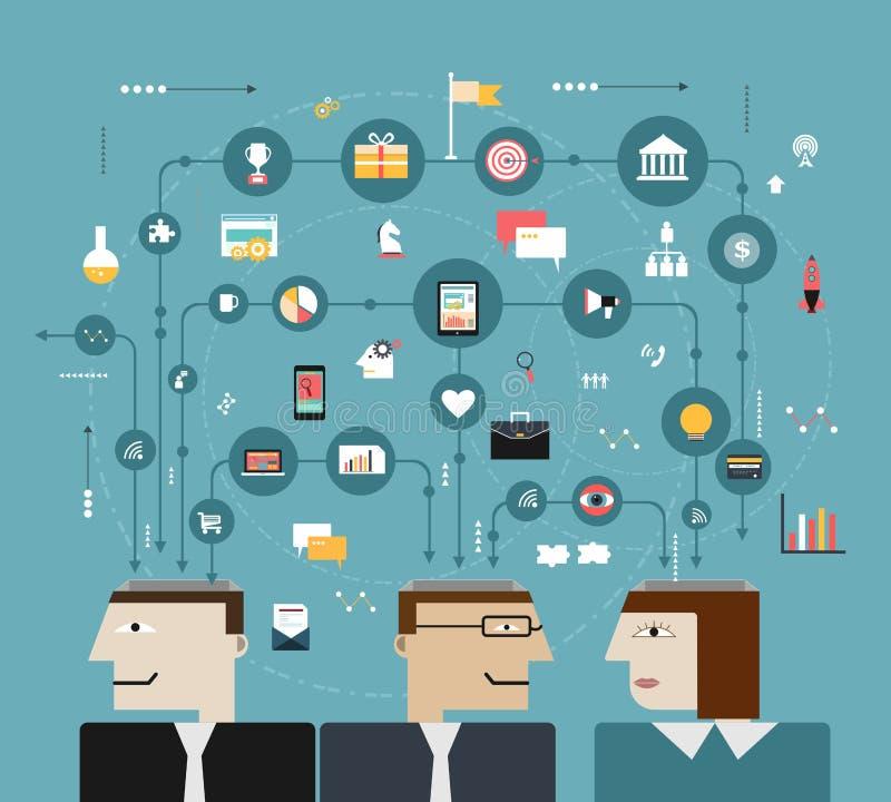 Ludzie biznesu łączą z ogólnospołeczną siecią ilustracji