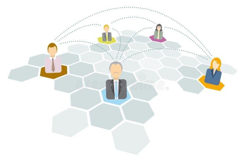 Ludzie biznesu łączy, networking ikony/ ilustracja wektor