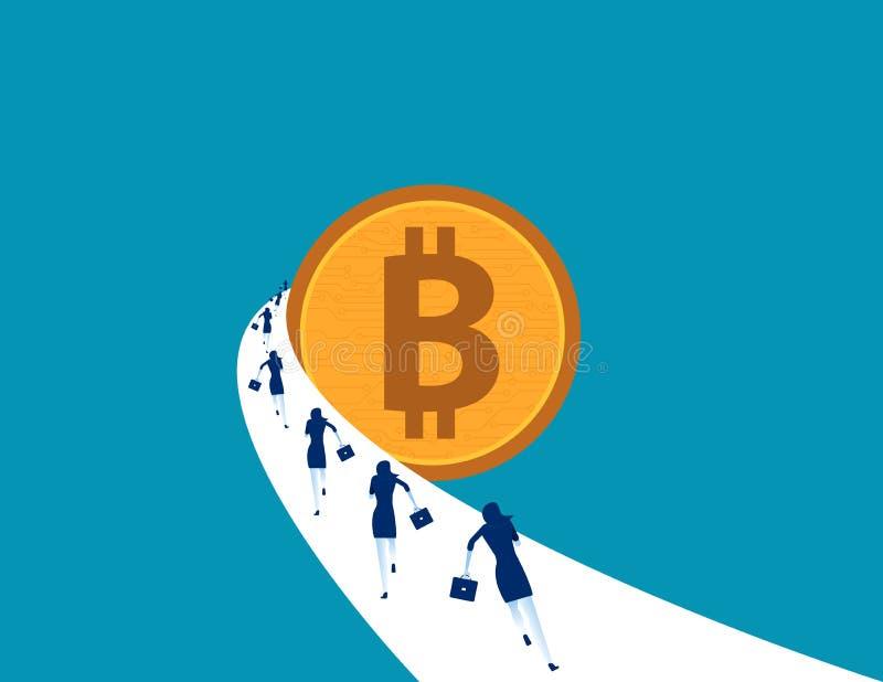 Ludzie biznesu biega bitcoin Pojęcie biznesowa wektorowa ilustracja Waluty technologii bitcoin ilustracji