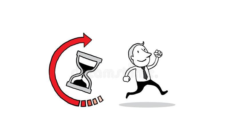 Ludzie biznesu biega na hourglass czasu ikony tle Zarządzania pojęcie odosobniona wektorowa ilustracyjna ręka rysujący konturu do ilustracji