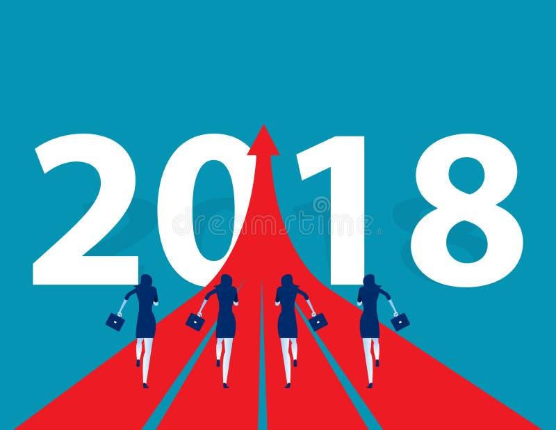 Ludzie biznesu biega 2018 Pojęcie biznesowego sukcesu wektor royalty ilustracja