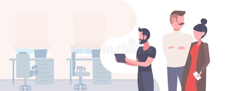 Ludzie biznesu brainstorming pracujący wpólnie pomyślnego pracy zespołowej pojęcia postaci z kreskówki męskiego żeńskiego portret ilustracja wektor