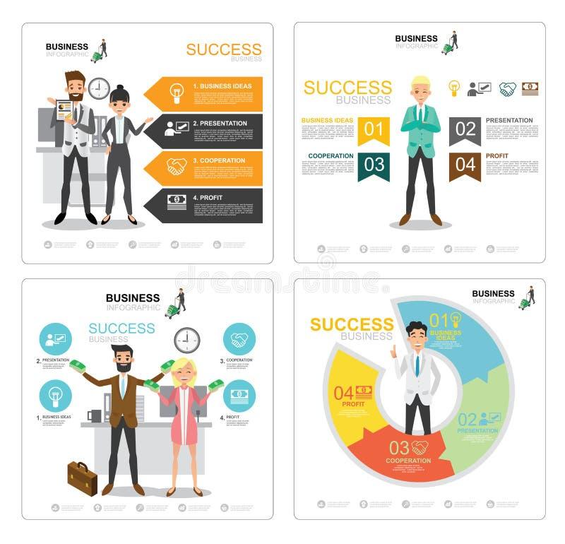 Ludzie biznesu charakteru sukcesu infographic wektorowego projekta royalty ilustracja