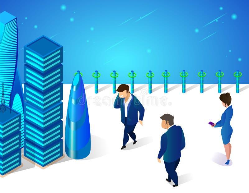 Ludzie Biznesu Chodzi przy Futurystyczną Grodzką ulicą ilustracja wektor