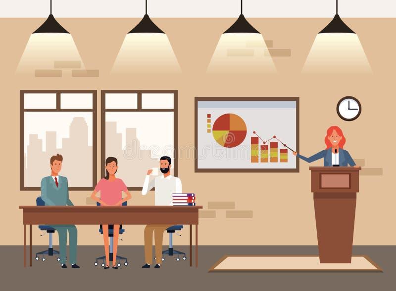 Ludzie biznesu coworking royalty ilustracja