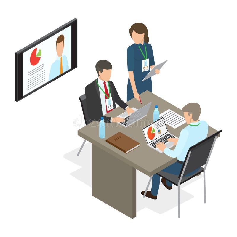 Ludzie Biznesu Decyduje przy stołem Pracujący zagadnienie ilustracji