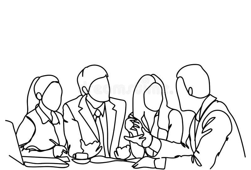 Ludzie Biznesu drużyn Siedzą Przy biurka Brainstorming Lub dyskusi spotkania Wpólnie Komunikacyjnym Doodle ilustracji