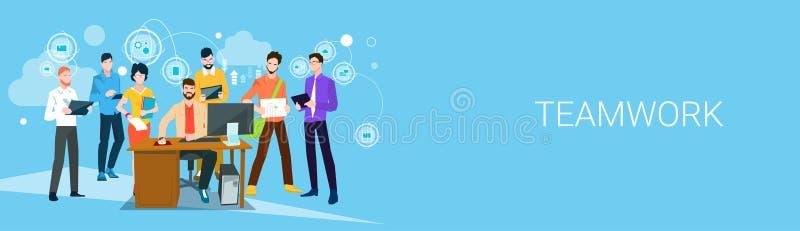 Ludzie Biznesu drużyna szefa kierownika Siedzą Pracującego Desktop sztandar ilustracji