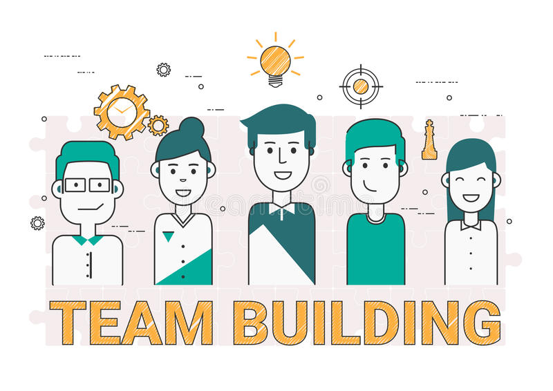 Ludzie biznesu drużynowego budynku ikony i pojęcia Mieszkanie linia royalty ilustracja