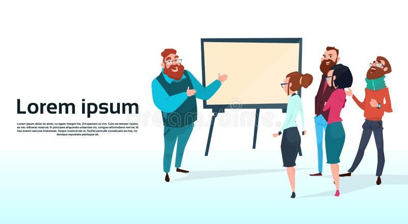 Ludzie Biznesu drużyny Z trzepnięcie mapy Brainstorming Seminaryjnej Stażowej Konferencyjnej prezentaci Pieniężnym wykresem ilustracja wektor