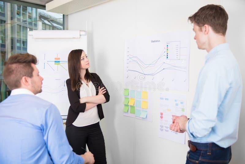 Ludzie Biznesu Dyskutuje Nad Kreskowym wykresem W biurze obraz royalty free