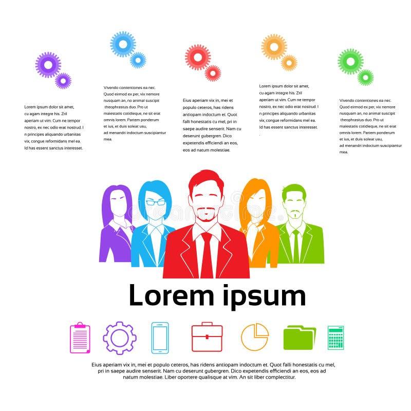 Ludzie Biznesu Grupują Kolorowe sylwetki ilustracja wektor