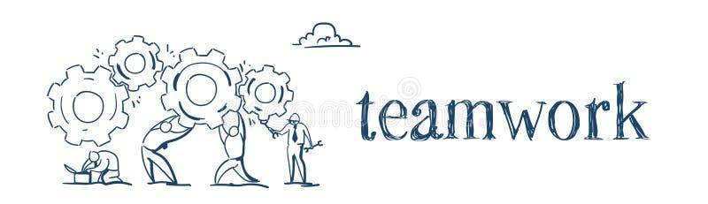 Ludzie biznesu grupują pokrętnego przekładni koło pracuje wpólnie proces strategii pojęcia nakreślenia doodle sztandar ilustracji