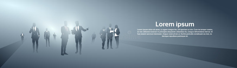 Ludzie Biznesu Grupują sylwetki Brainstorming Drużynowego proces royalty ilustracja