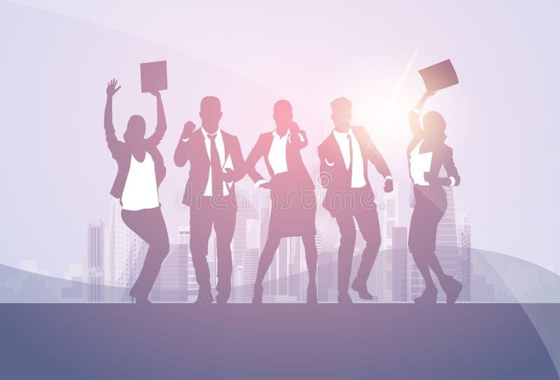 Ludzie Biznesu Grupują sylwetki Excited chwyt ręk Up Podnosić ręki, biznesmena pojęcia zwycięzcy sukces ilustracja wektor