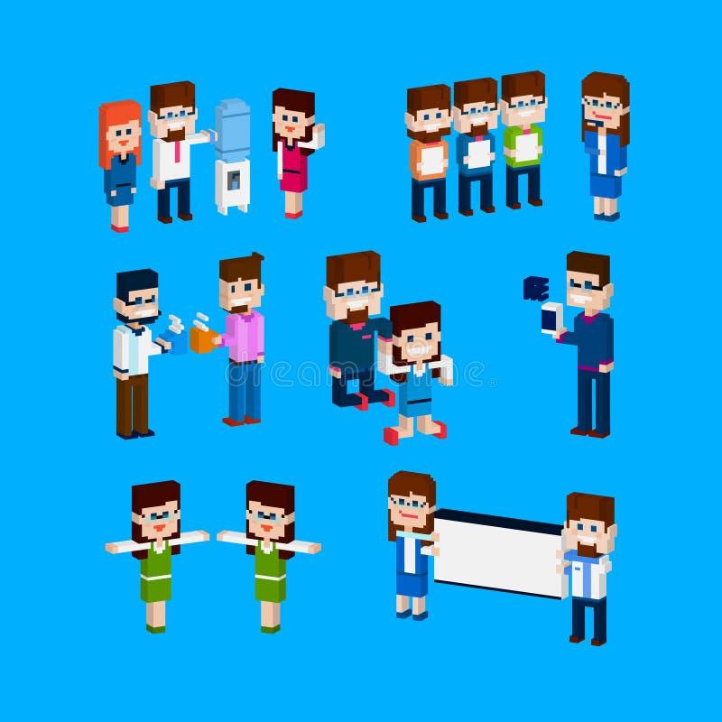 Ludzie Biznesu Grupują urzędnik aktywności Ustalonego 3d Isometric projekt ilustracja wektor
